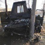 ДТП в Кривом Роге: Mercedes снес бетонные ограждения и вырезался в столб
